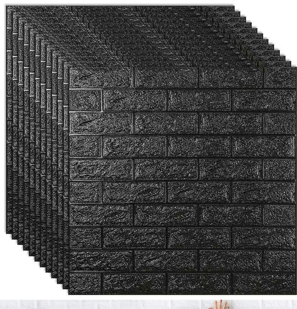 Foambricks 77cm X 35cm Matte Black Foam Bricks Accent Wall Design 3d Wall Panels Peel And Stick Wallpaper For Bedroom Living Room Decor Pe Foam 3d Stick And Peel 3d Wall Stickers