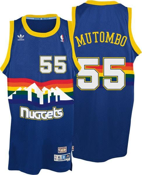 huge discount c81c2 8b5d4 Mens Ad!das Denver Nuggets 55 Dikembe Mutombo Authentic Light Blue  Throwback NBA Jersey