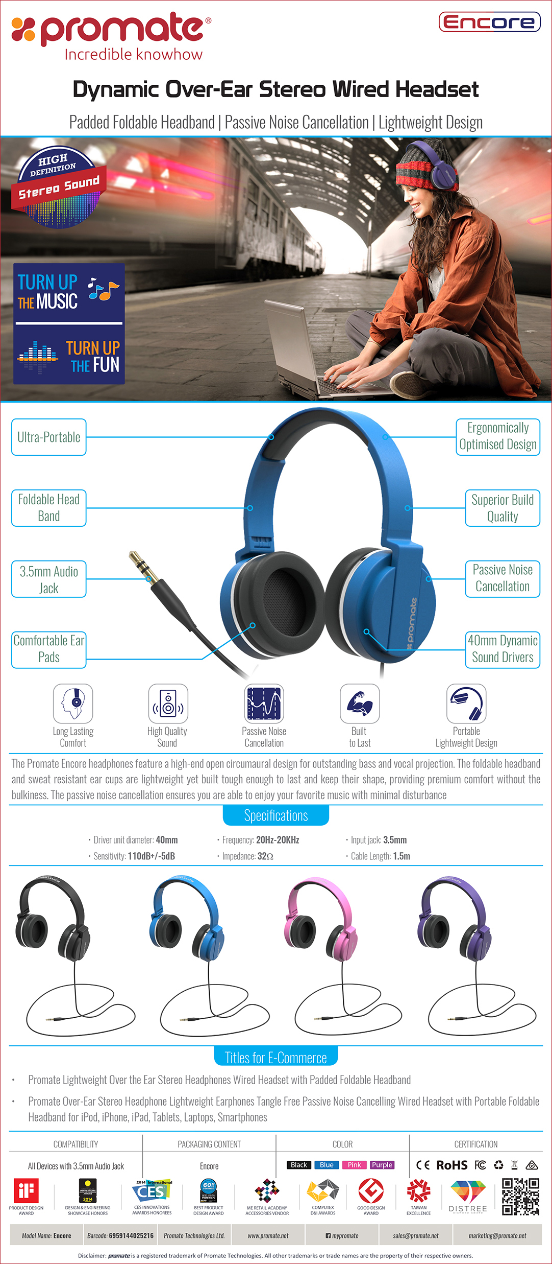 95d2cec4119 The Promate Encore headphones feature a high-end open circumaural design  for outstanding bass and vocal projection. The foldable headband and sweat  ...