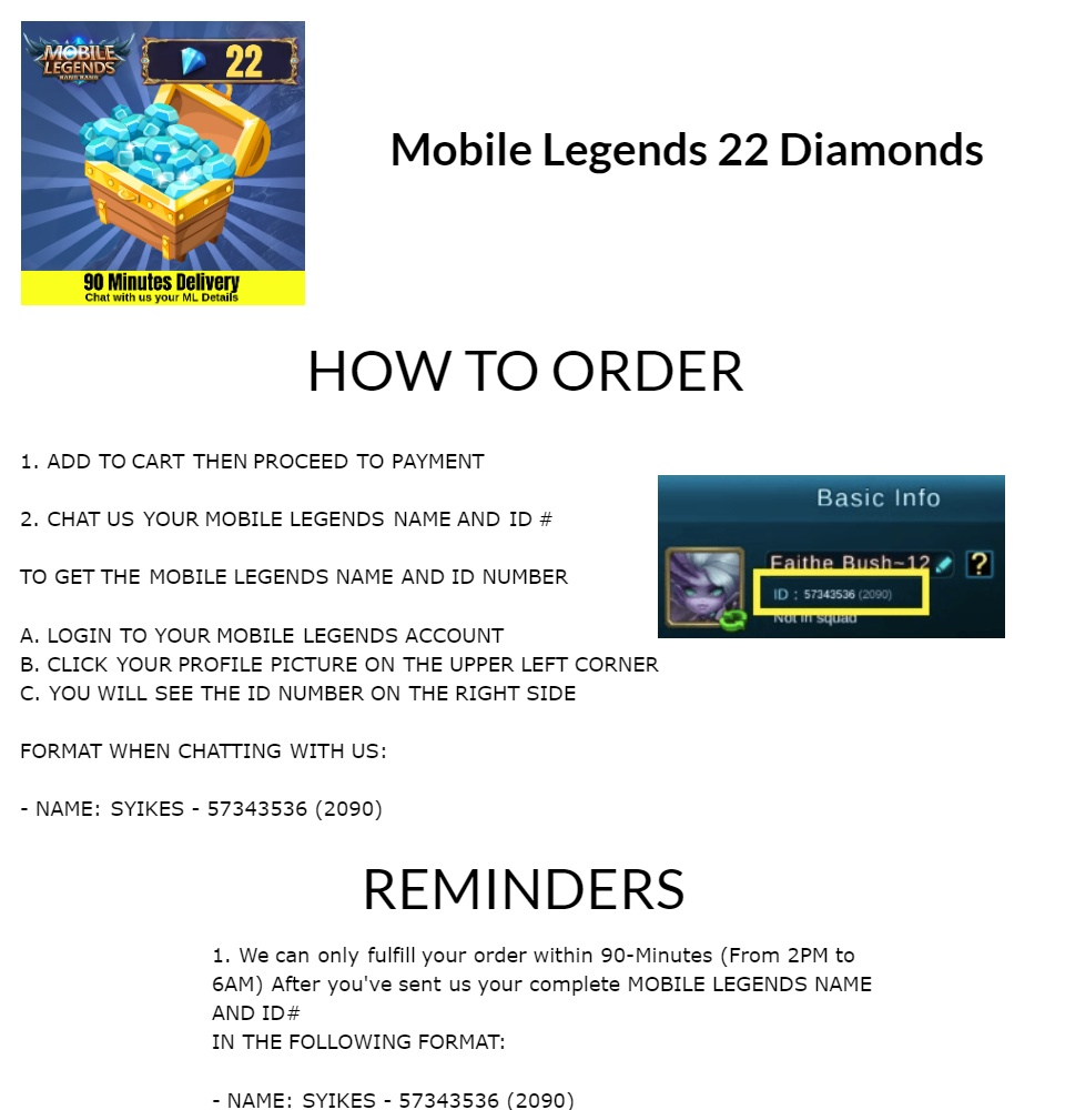 [PROMO] Mobile Legends 22 Diamonds - [FAST DELIVERY & TOP RATED] - ML Dias  - Gaming