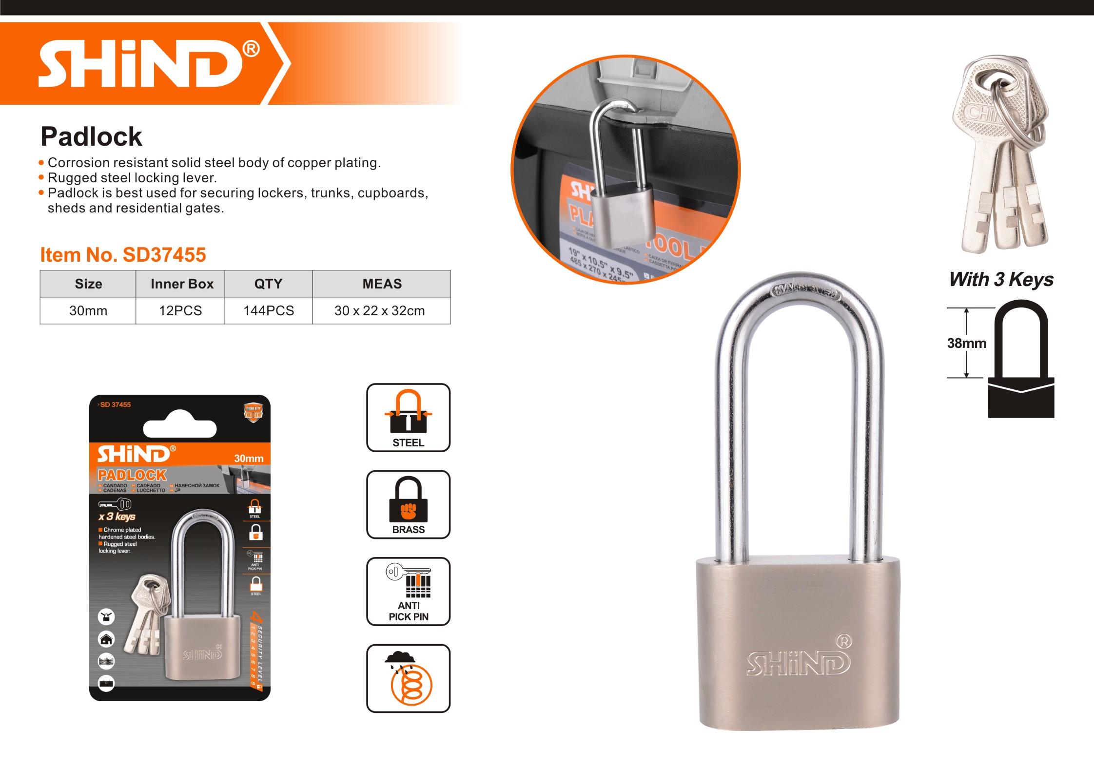 MAXIMUM  SECURITY HARDENED SOLID STEEL 3 KEYS HEAVY  DUTY  65mm PADLOCK