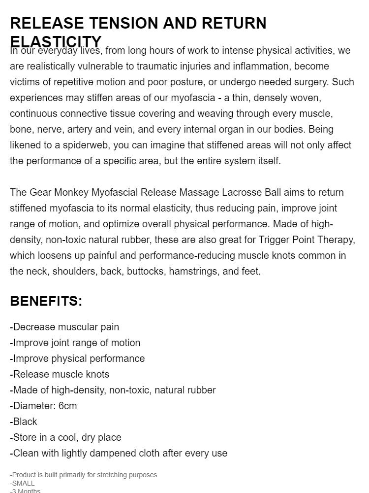 Gear Monkey Myofascial Release Trigger Point Massage Lacrosse Balls -  Massage Lacrosse Ball