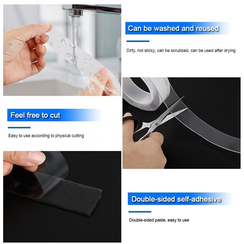 Waterproof Double Sided Reusable Non-slip Nano Tape 10
