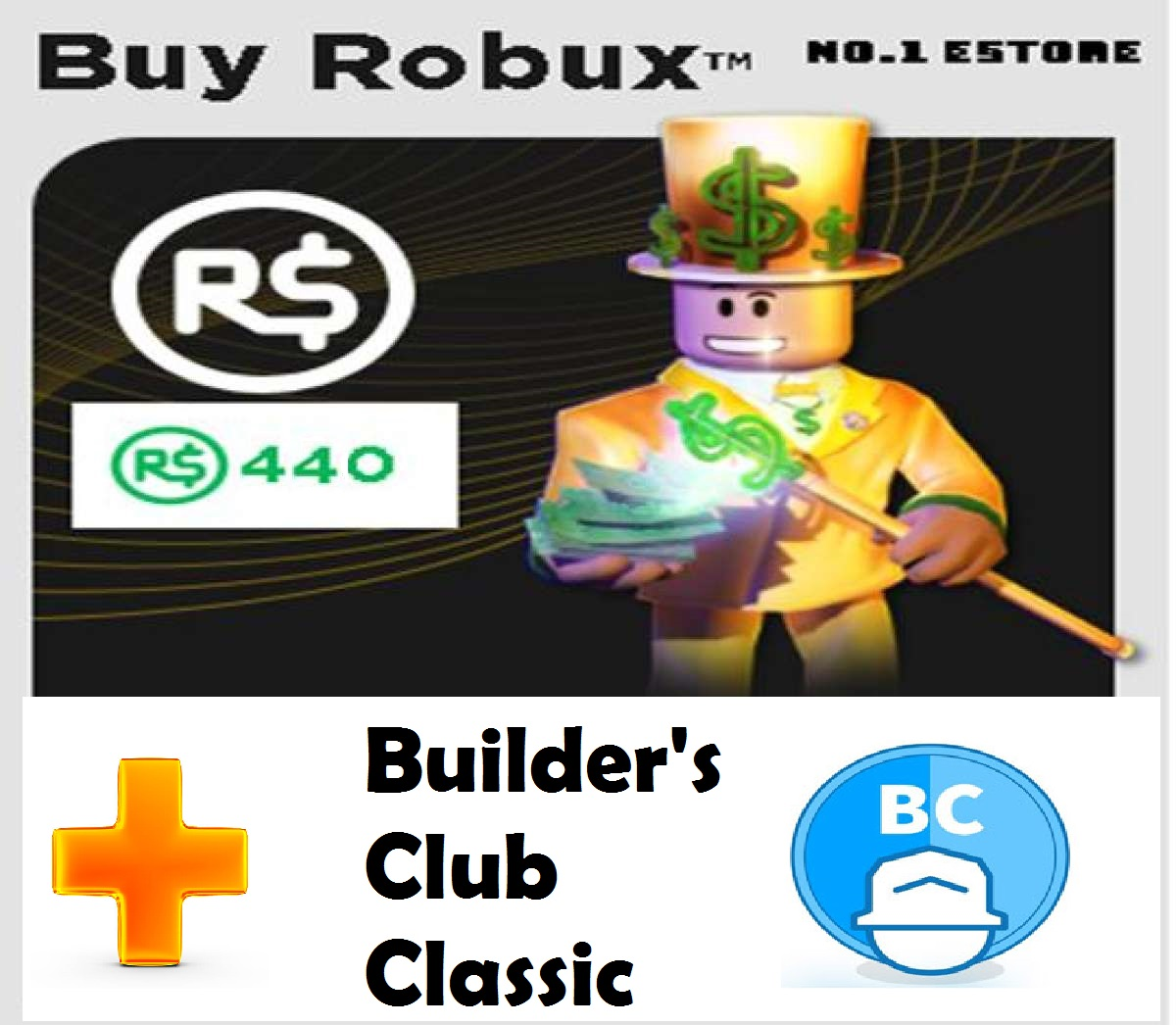 Roblox 440 Robux Direct top up 440 robux + Builder's Club Classic (Not a  physical gift card)