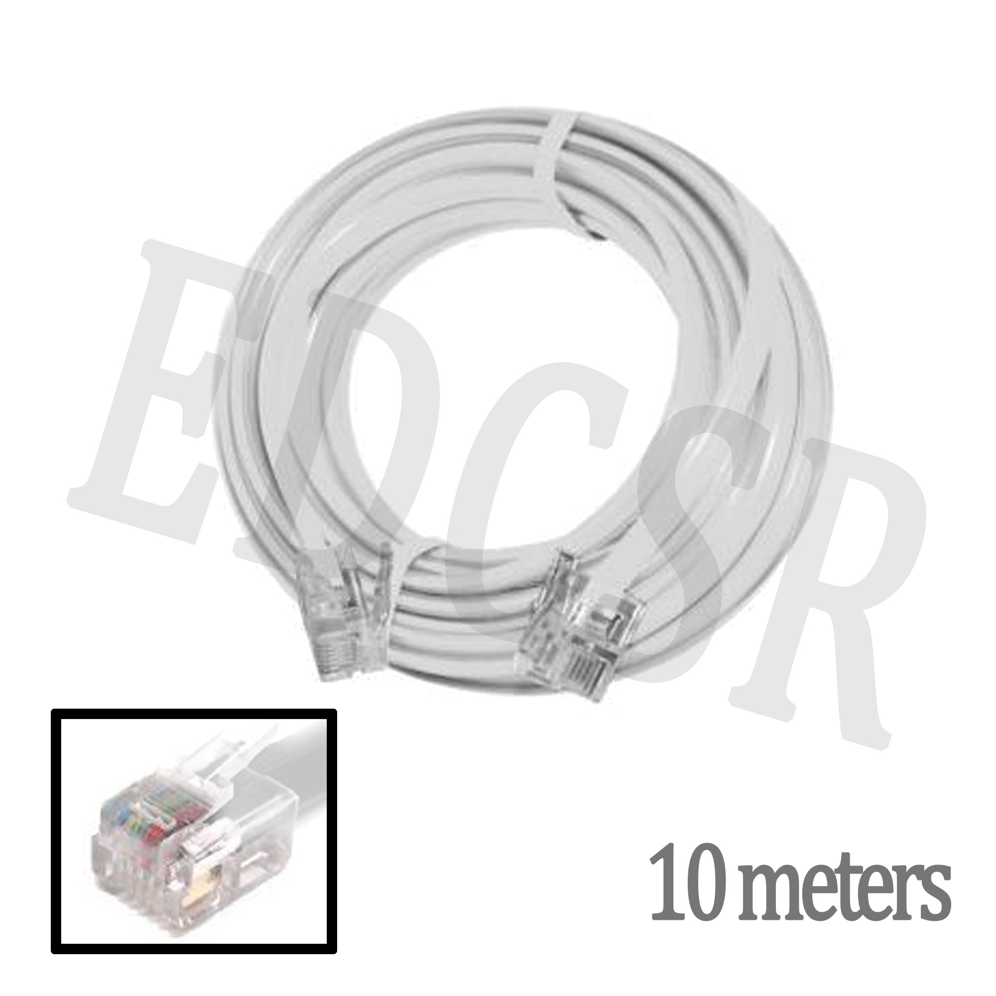 RJ11 Cable Telephone Line Wire - 10 Meters - White on