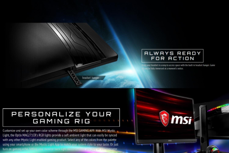 MSI Optix MAG271CR 27Inch Curved Gaming display (1800R), Mystic Light RGB,  FHD High Resolution, 144Hz Refresh Rate, 1ms response time, AMD FreeSync