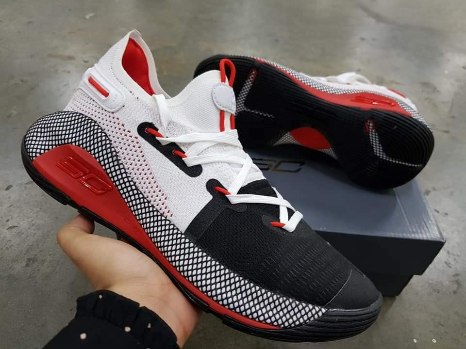 super popular 61a1f cb1ec Under Armour Curry 6 Low Black White Red Multicolor Basketball Shoes