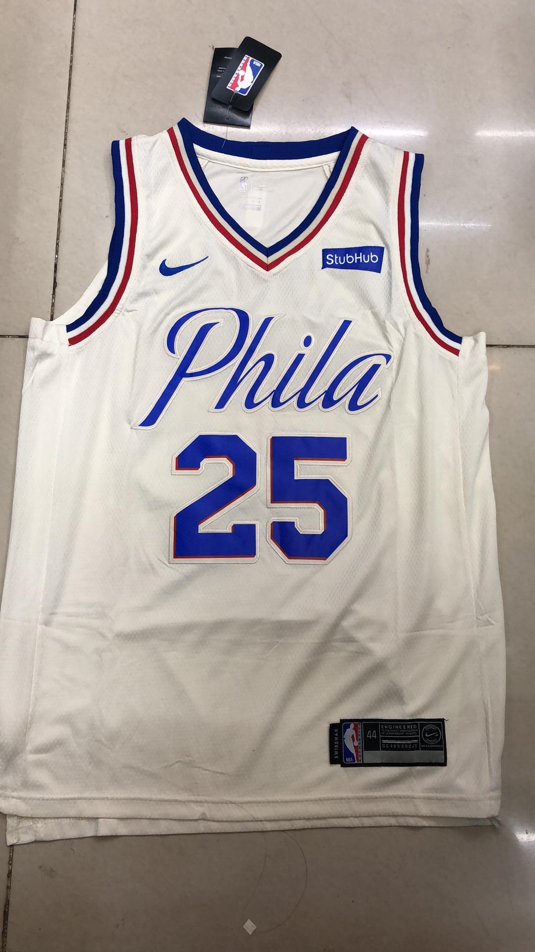 best website b2d2a ab4f7 #25 Authentic Ben Simmons Men's Cream NBA Jersey - Philadelphia 76ers City  Edition