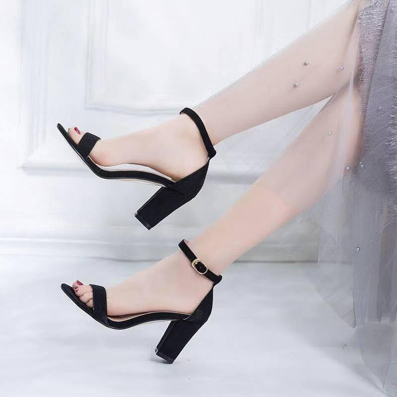MME Block Heel Korean Suede High Heels