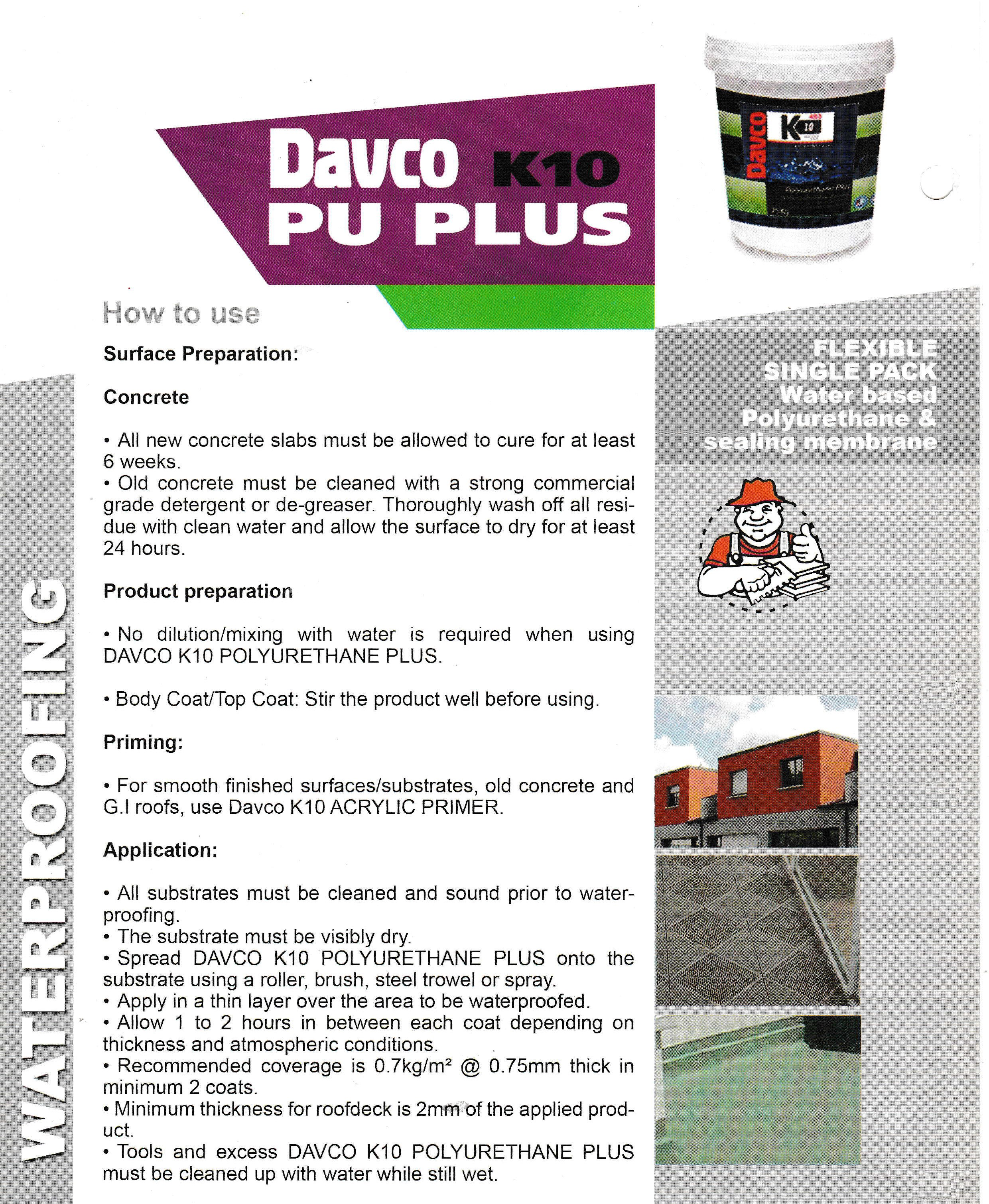 DAVCO K10 Plus Fast Drying Waterproofing Membrane for Roof Deck and Balcony  - 5kg
