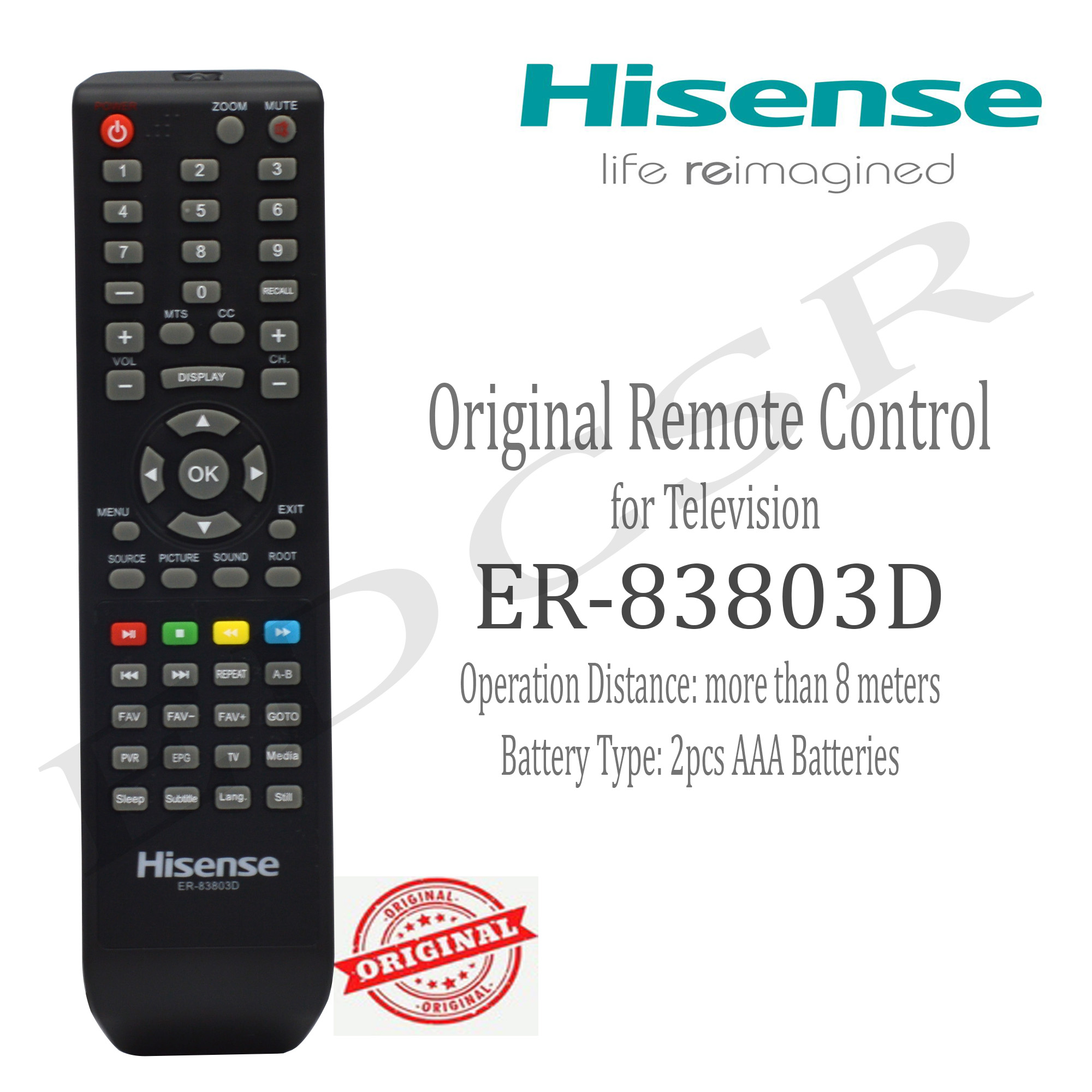 Hisense - ER-83803D - Original Remote Control for Television