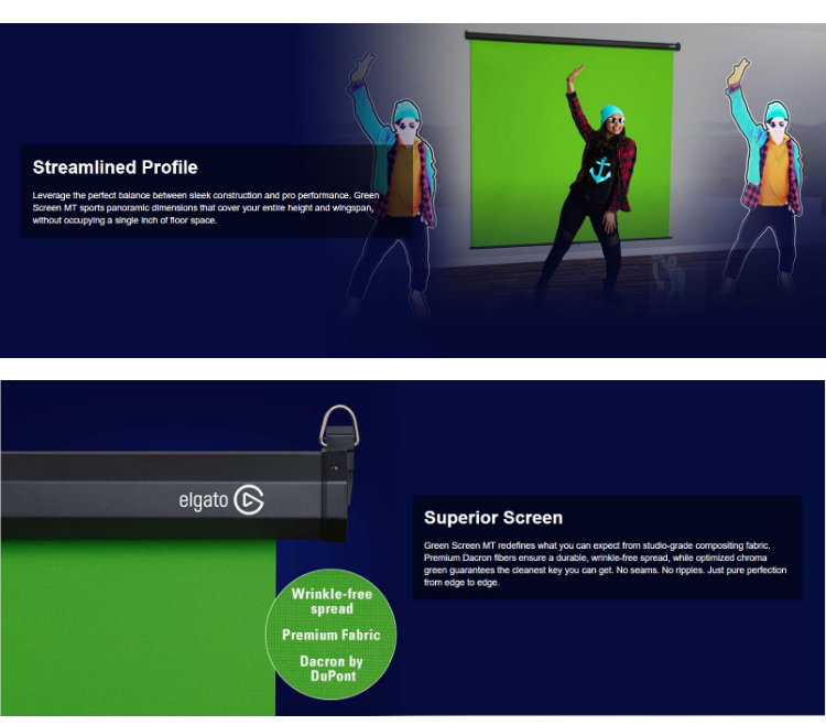 Elgato Green Screen MT - Mountable Chroma Key Panel for Background Removal,  Wrinkle-Resistant Chroma-Green Fabric