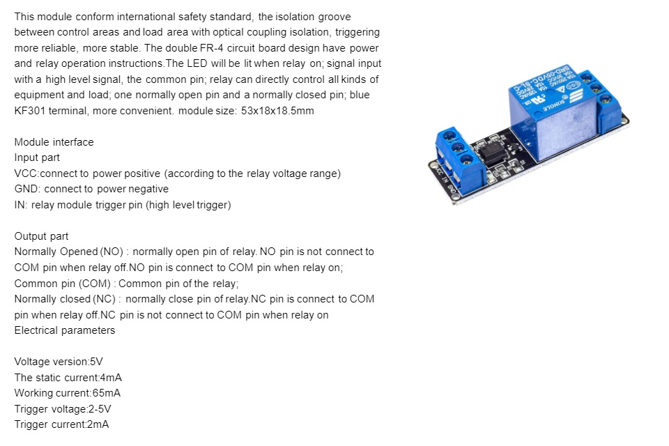 1 Channel 5V Relay Module With Optocoupler Protection