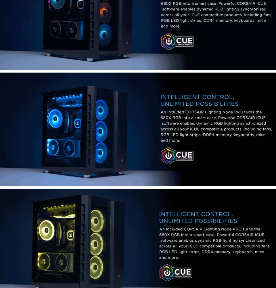 CORSAIR Crystal Series 680X RGB ATX High Airflow Tempered Glass Smart Case  — White (CS-CC-9011169-WW)