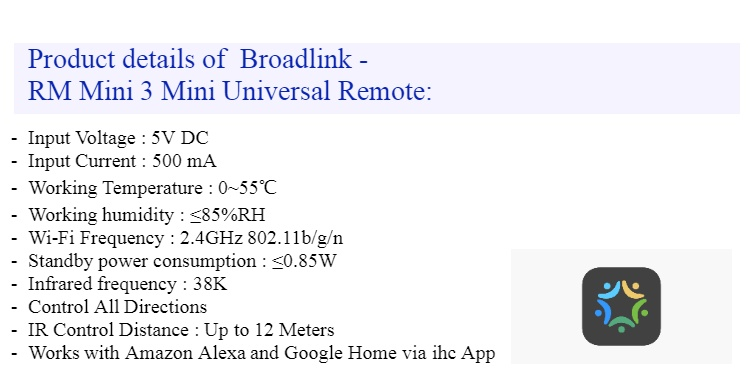 Broadlink RM Mini 3, WI-Fi All in One Universal Remote, Amazon Alexa and  Google Home compatible
