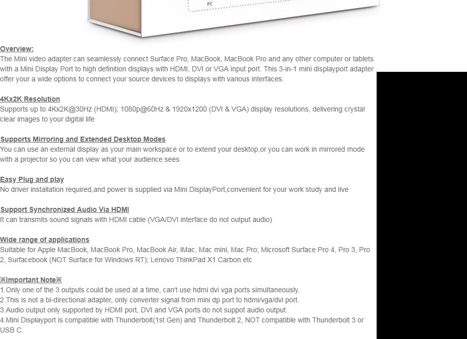 UGREEN 3 in 1 Mini DisplayPort/Thunderbolt to HDMI/DVI/VGA Adapter  Compatible with Apple MacBook Pro Air Mac Mini Pro iMac (Black)-Intl