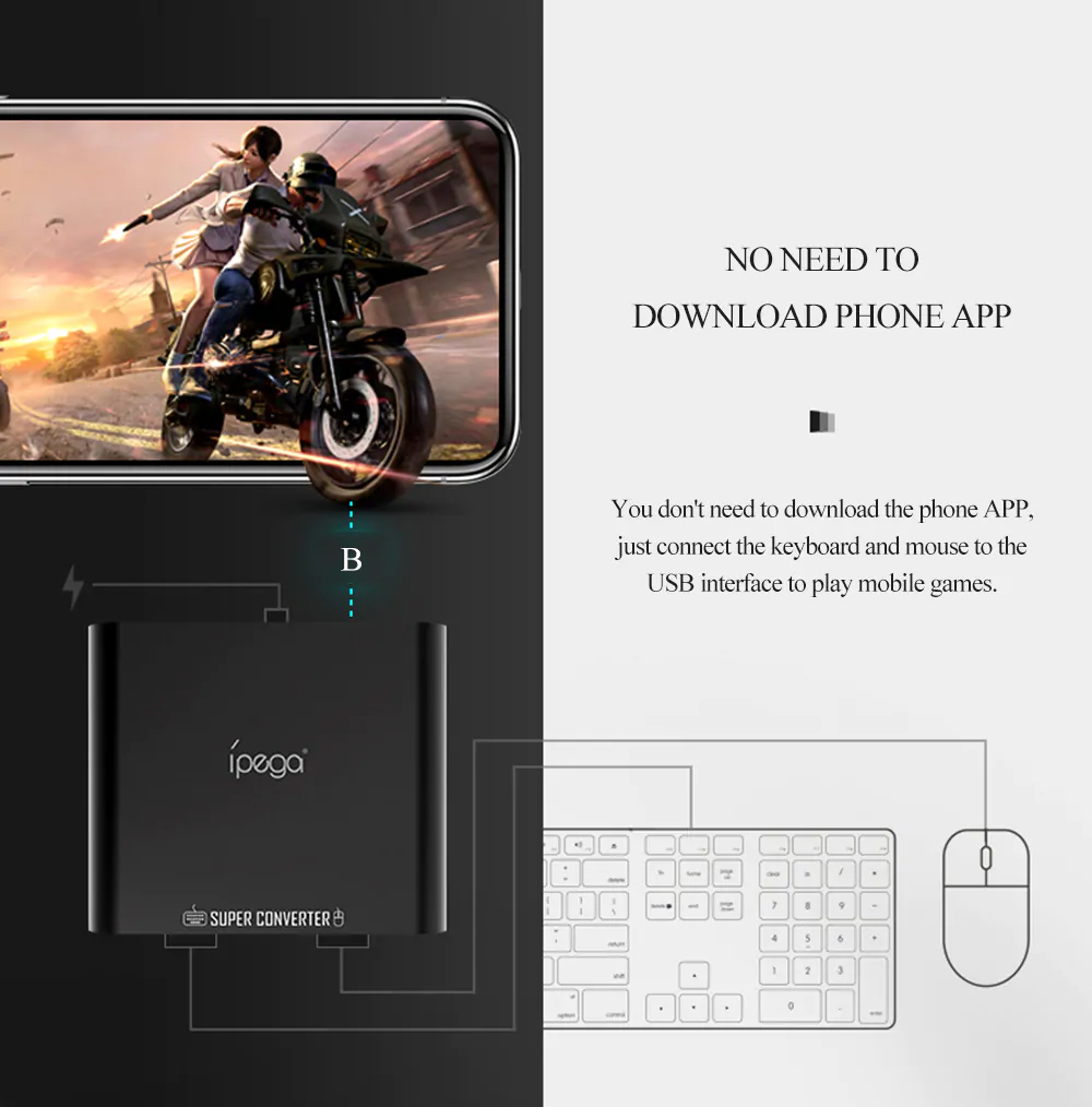 Ipega 9116 PG-9116 Bluetooth Keyboard and Mouse Converter for Android Game  Controller Joystick Pubg Mobile FPS Games