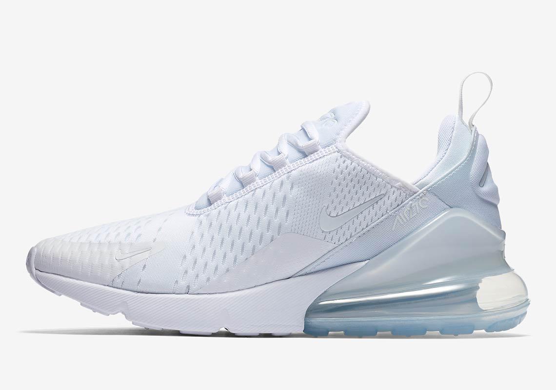 sports shoes 16836 521e5 High End Nike Air Max 270 Flyknit Triple White Men's Sportswear Running  Shoes