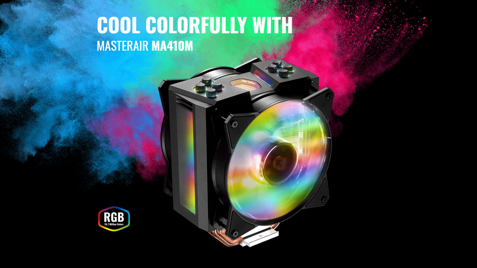 CoolerMaster MASTERAIR MA410M with Dual MasterFan MF120R, 4 Heat-pipes, 28  Addressable RGB LED,Thermal Detection Sensor CPU Air Cooler