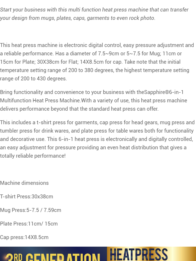 Sapphire 6 in 1 Multi function Heat Press Machine with FREE Inkjet  Paper/White Sublimation Paper A4 108 GSM