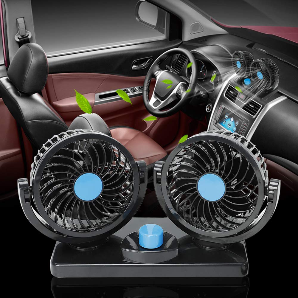 for Sedan SUV//RV//Vehicle 12V Electric Car Cooling Fan 2 Speed Adjustable 360 Degree Rotatable with Clip On Auto Cooling Air Fan Car Fan