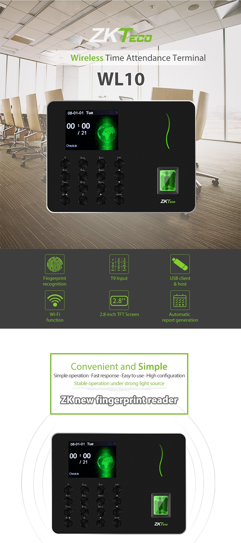 ZKTeco 2 8 inch TFT USB Biometric Fingerprint Time Attendance Machine Time  Clock Recorder Employee Checking-in/out Reader Allow mobile APP connection