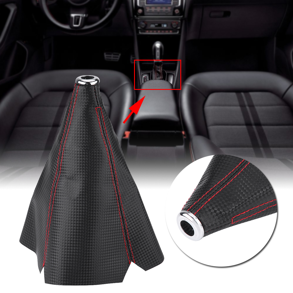 Black PU Leather Car Gear Manual Shifter Shift Boot Red Stitch Cover Universal