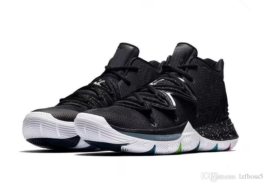 pretty nice 12a8e 8b390 kyrie 5 black white Basketball Shoes For Men Size(41 42 43 44 45)