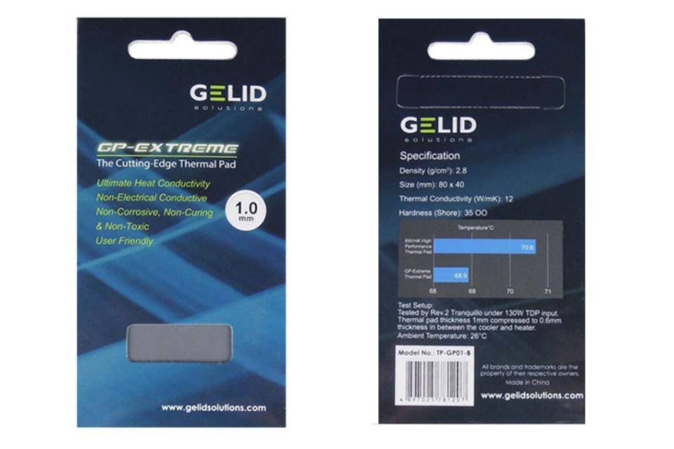 Gelid Thermal Pad 80x40x1 0mm - Ultimate Conductivity 12W/mK