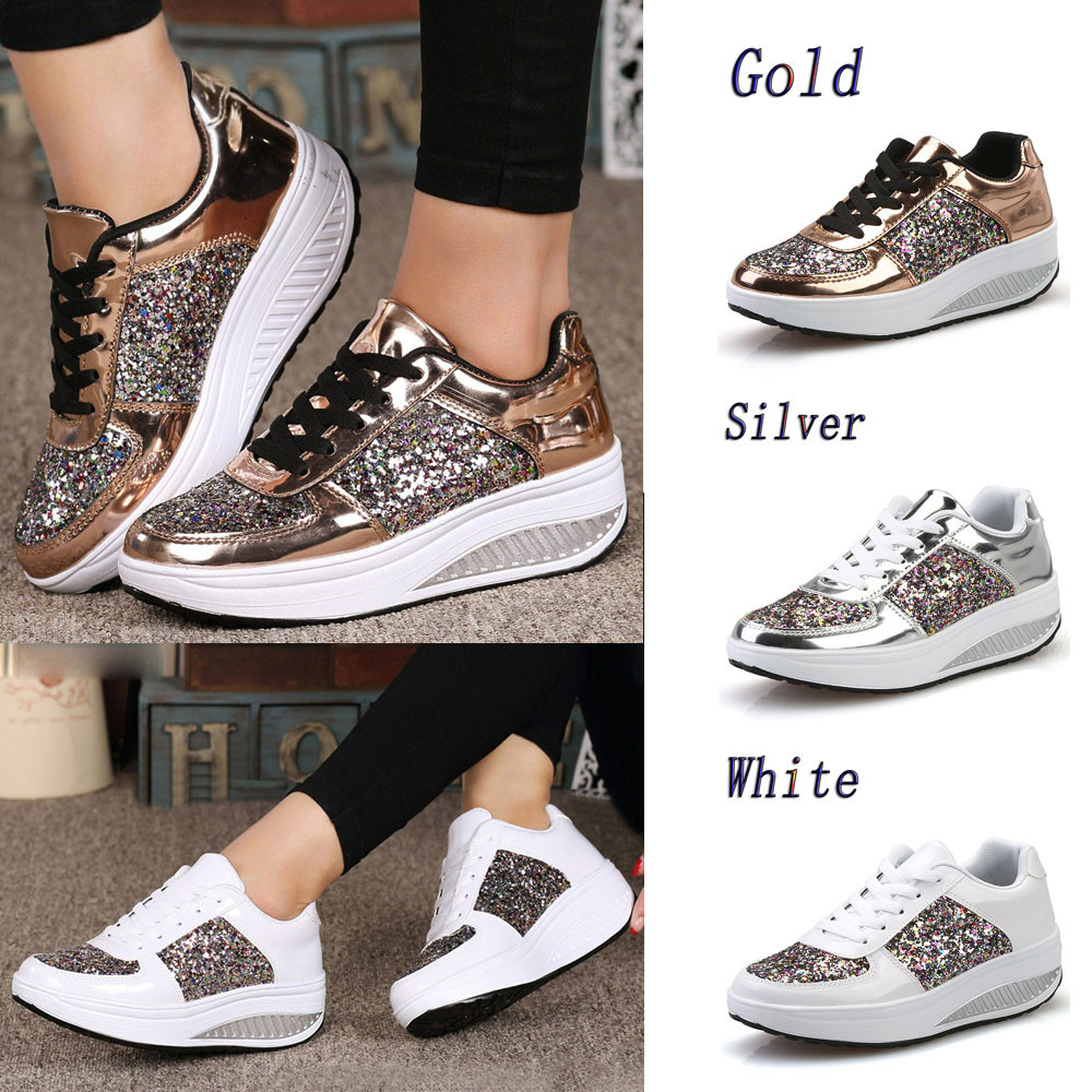 ac457096f86a SH.Women's Ladies Wedges Sneakers Sequins Shake Shoes Fashion Girls Sport  Shoes