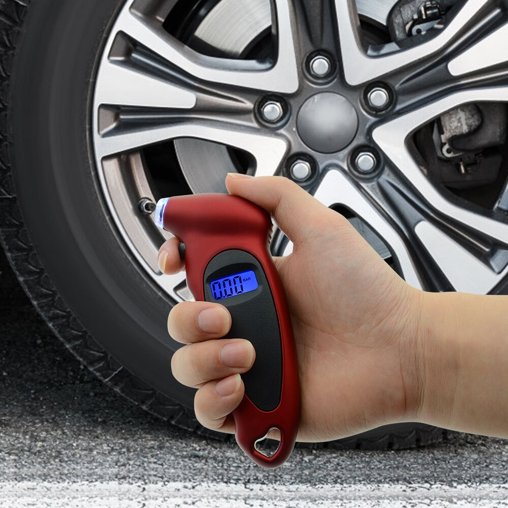 High-Precision Tire Pressure Gauge 0-150 PSI Backlight Digital Tire Pressure Monitoring Car Tire Pressure Gauge Red
