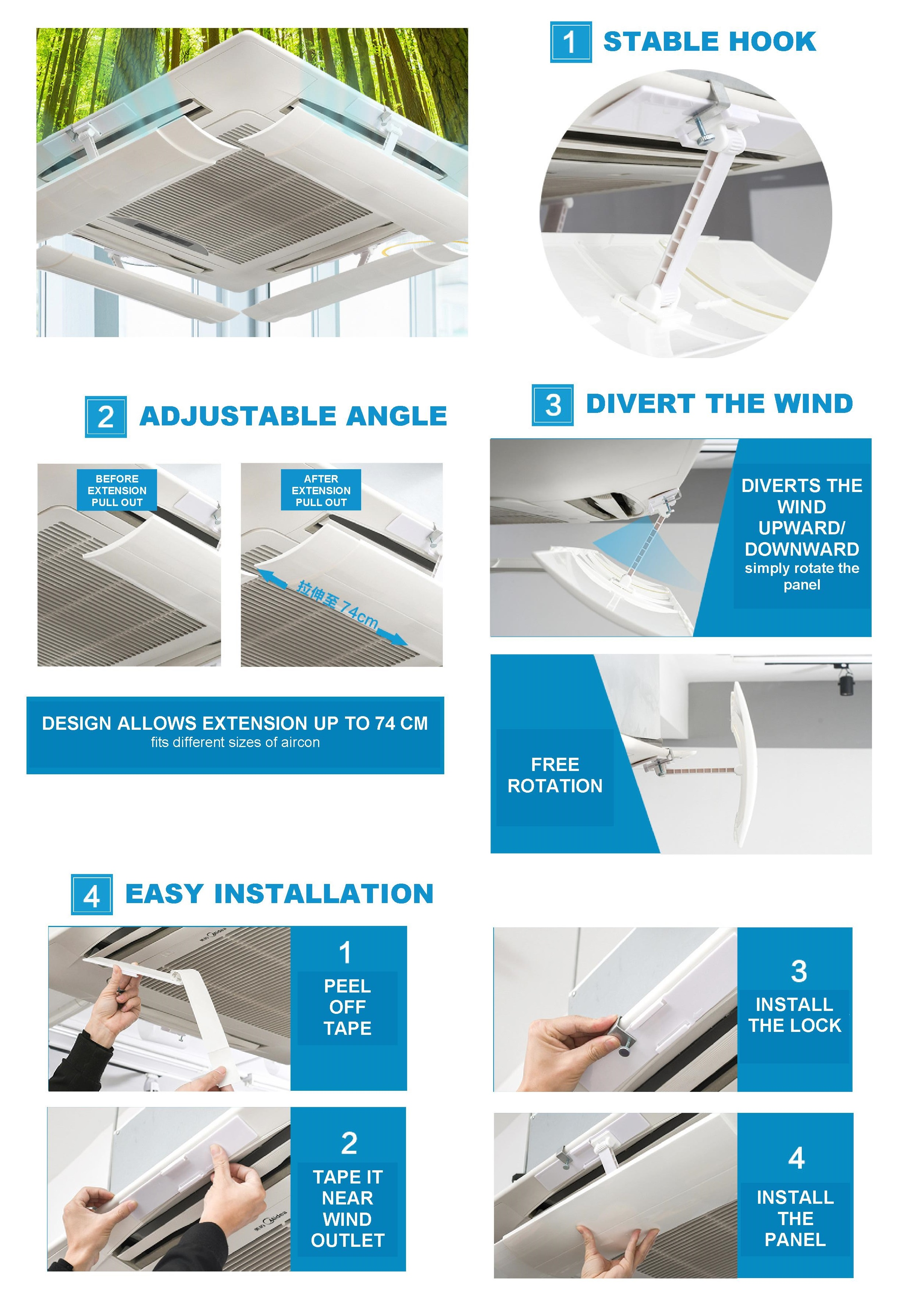 Ceiling Central Casette Type Aircon AC Vent Wind Deflector Redirect Blocker  (1 pc)