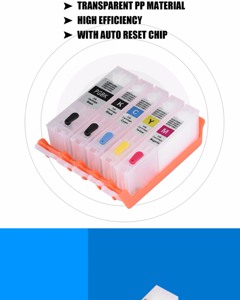 [Free Gift] Shanyu 5Colors PGI-850/CLI-851 Refillable Ink Cartridge with  ARC Chip for Canon PIXMA MG6380/MG5480