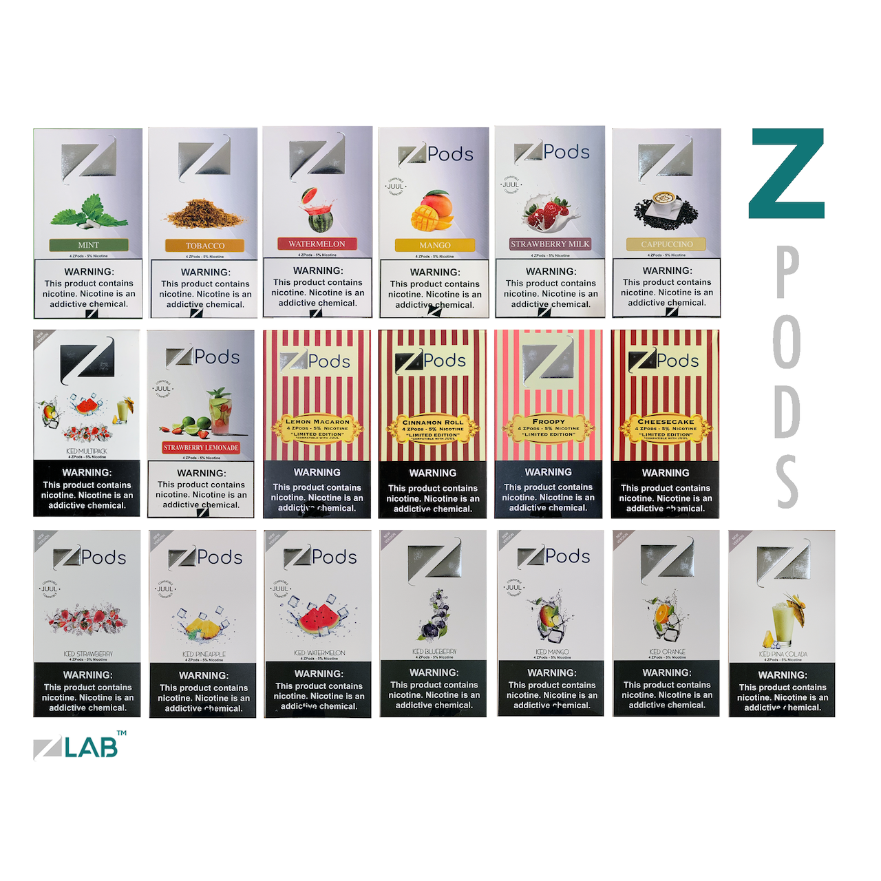 Ziip Iced Edition Iced Mango Flavor JUUL Compatible ZIIP Pods 5% 50mg (Pack  of 4)