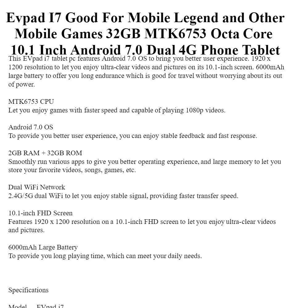 Evpad I7 Good For Mobile Legends and Other Games 32GB MTK6753 Octa Core  10 1 Inch FHD MTK6753 2G+32G Android 7 0 Dual 4G Phone Tablet 2 4GHz/5GHz  With