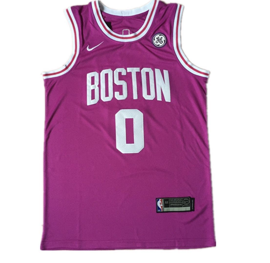 buy online 5bc34 887d2 Boston Celtics #0 Jayson Tatum Jersey 2018 19 New Season City Edition White  or Green or purple Jersey
