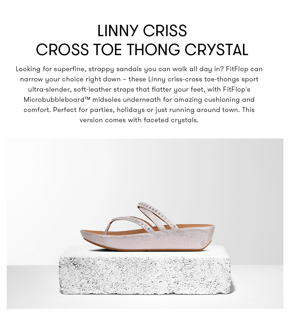081efe5bfab6c Fitflop Women's Sandals K45 LINNY C CROSS T-THONG-CRYSTAL LEATHER DRESS  lightweight comfort fashion New