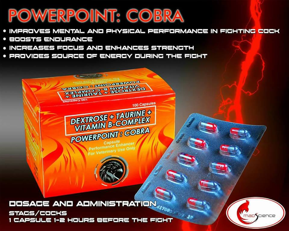 100 capsules of Mad Science Powerpoint Cobra Vitamin B Complex Taurine for  Gamefowl Rooster