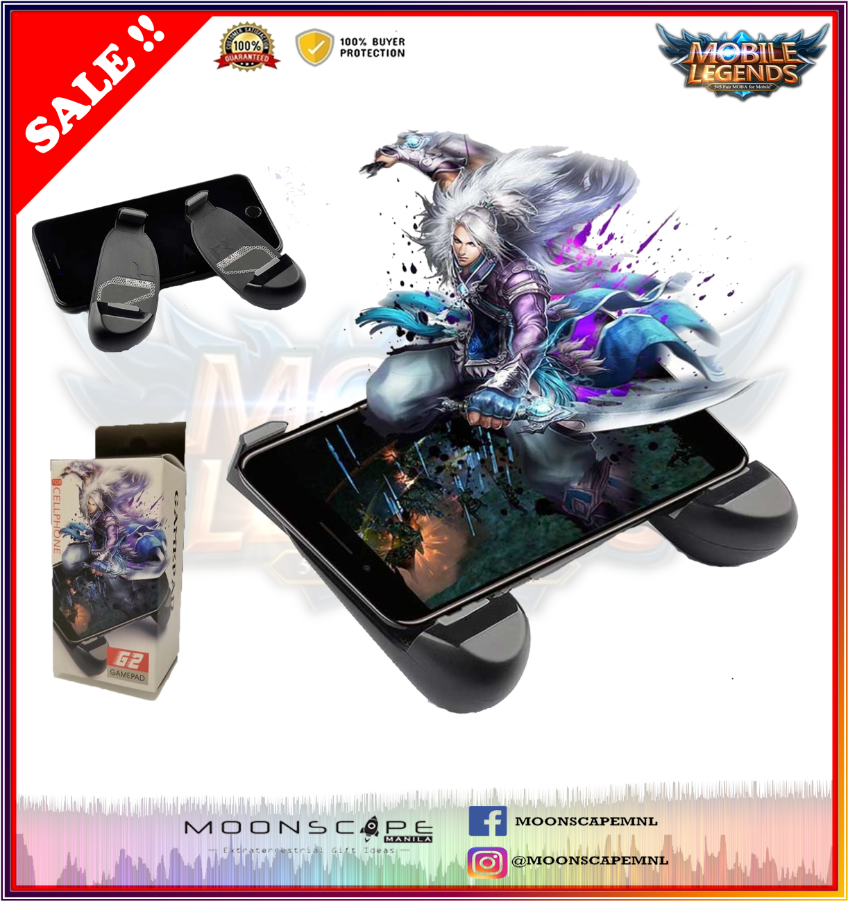 Universal G2 Portable game Grip pad 3 in 1 Gamepad Joystick Controller Game  Controller Game Handle Mobile Phone Holder Game pad (Mobile Legends / AOV)