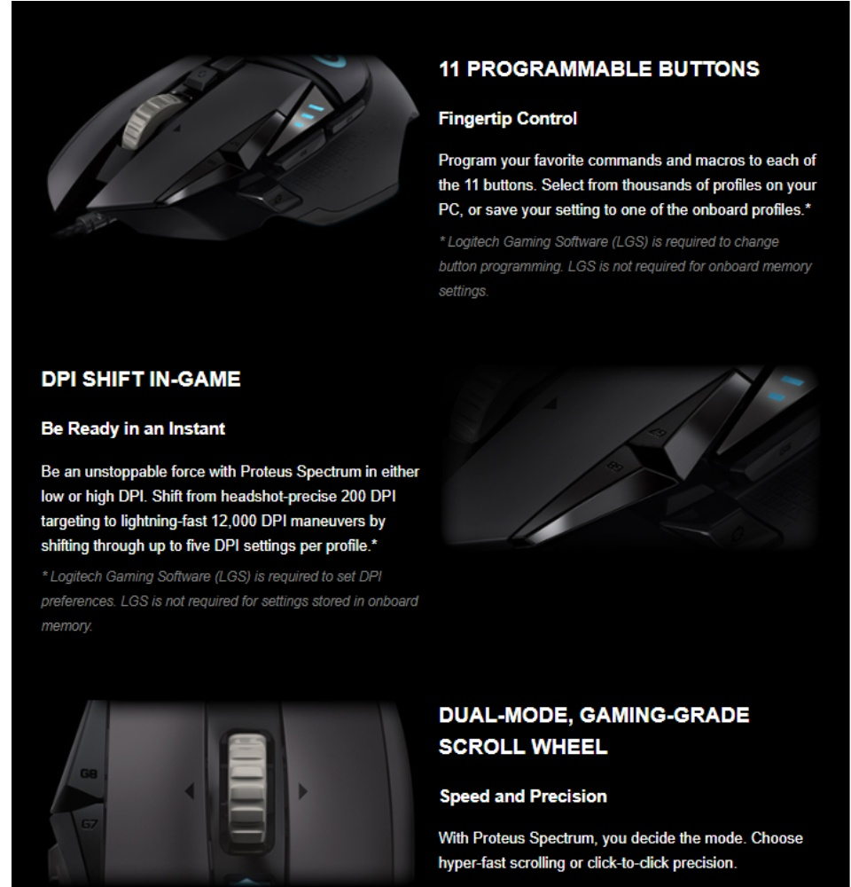 Logitech G502 Proteus Spectrum Gaming RGB
