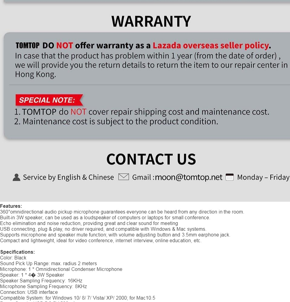 (Free Shipping Fee)Aibecy USB Desktop Computer Conference Omnidirectional  Condenser Microphone Mic Speaker Speakerphone 360 Audio Pickup Plug & Play