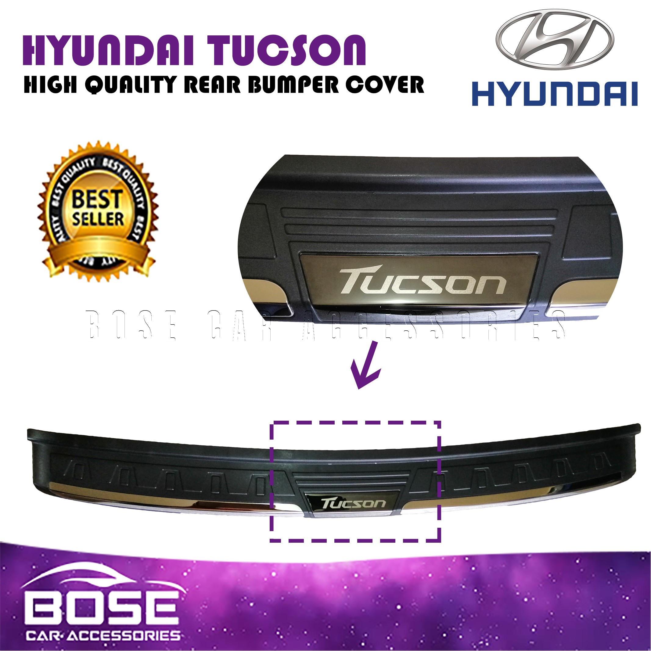 Rear Bumper Cover for Hyundai Tucson 2015-2018 Applique Guard Scuff Protection