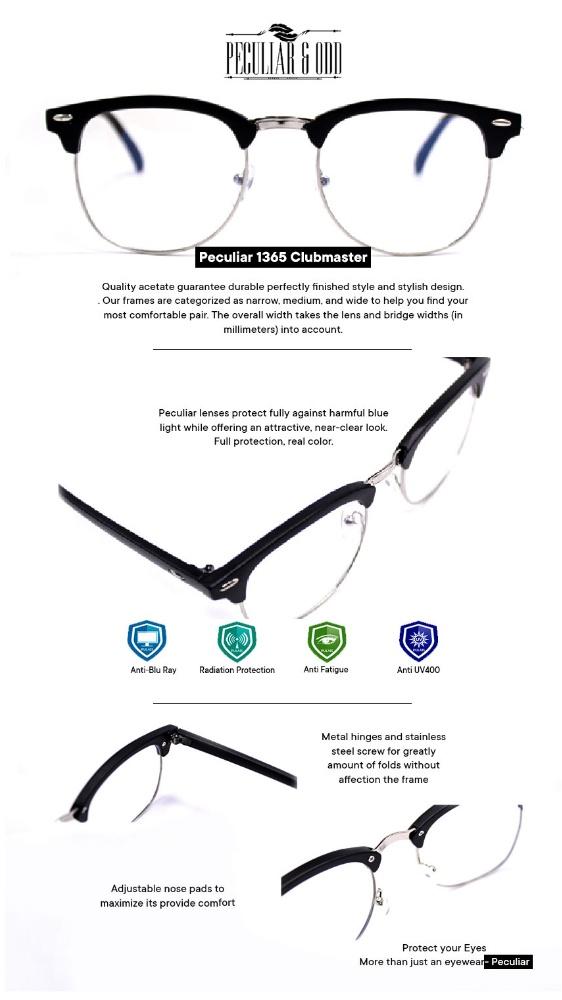 Peculiar Clubmaster Eyeglass 1365 B.Silver Unisex Computer Eyeglasses Anti  Radiation   Gaming   Gadget   Computer Replaceable Lens Optical Frame Blue  ... 7f08ff33677b