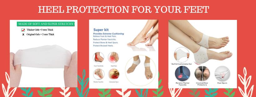 Silicone Heel Cushion,Heel Cups,Gel Heel Protectors,Plantar Fasciitis Inserts Pads/& Heel Guards Great fot Heel Pain Achilles Tendinitis.Heel Sore. Heal Dry Cracked Heels