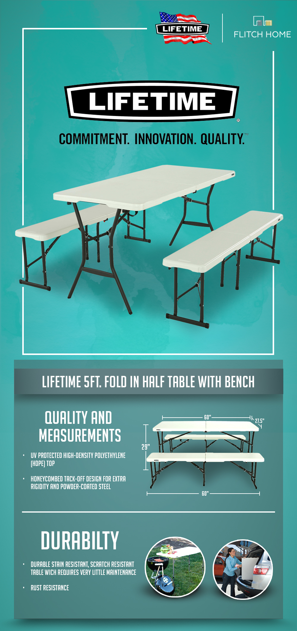 Pleasant Lifetime 5 Ft Fold In Half Table With Bench Combo Set Download Free Architecture Designs Rallybritishbridgeorg