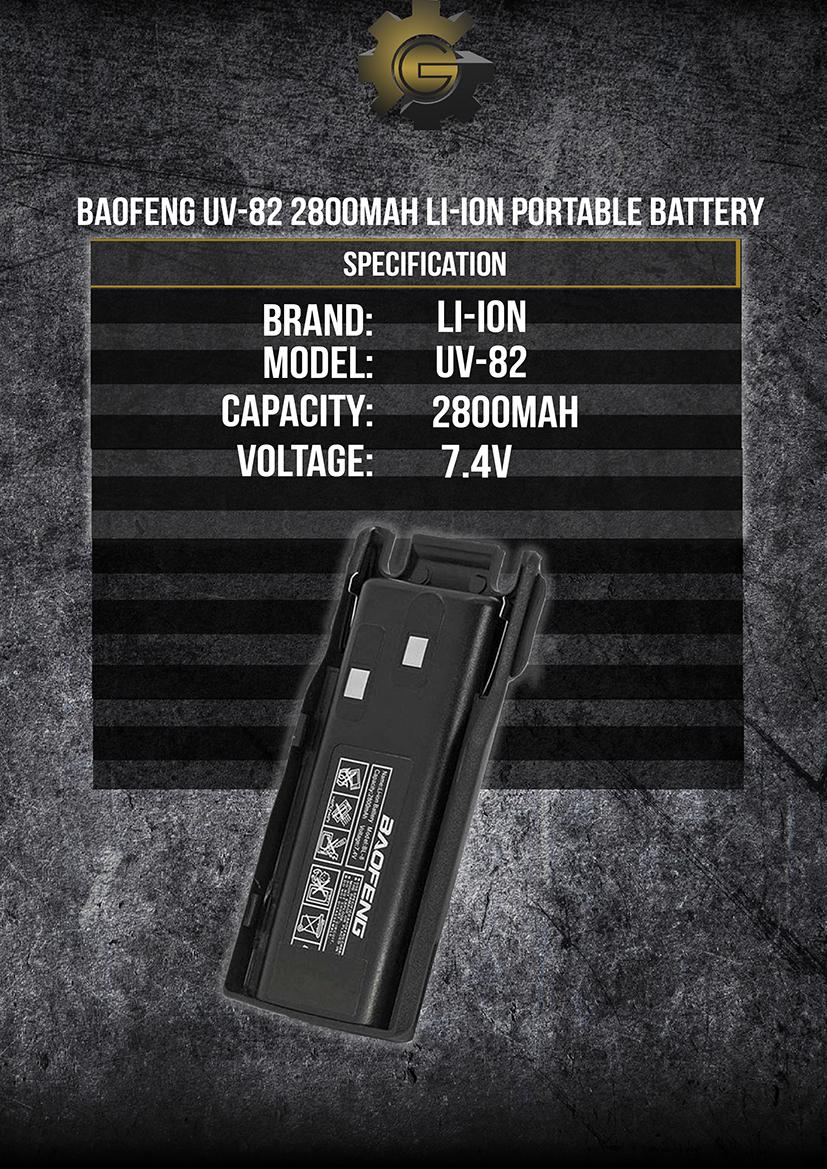Baofeng UV-82 2800mAh Li-ion Portable Battery (Black)