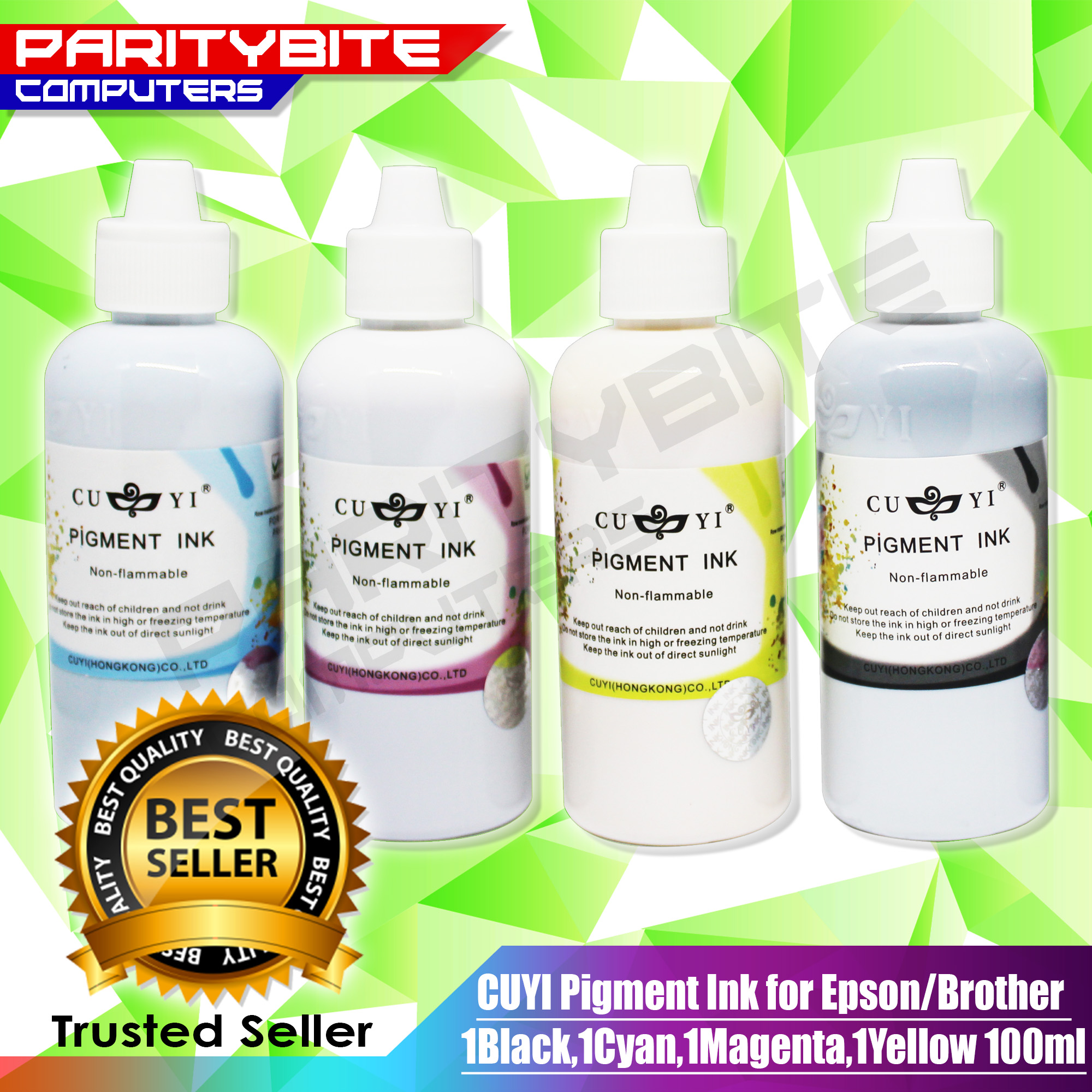 CUYI Pigment Ink for Epson/Brother 1Black,1Cyan,1Magenta,1Yellow 100ml