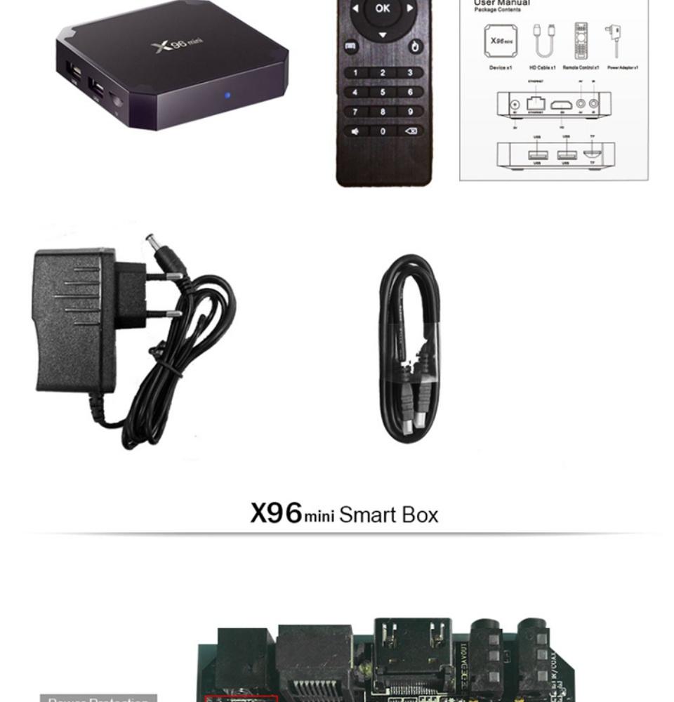 (Free shipping)X96 mini TV BOX Android 7 1 Smart TV Box 2GB 16GB Amlogic  S905W Quad Core 2 4GHz WiFi Set top box 1GB 8GB X96mini(US Plug)