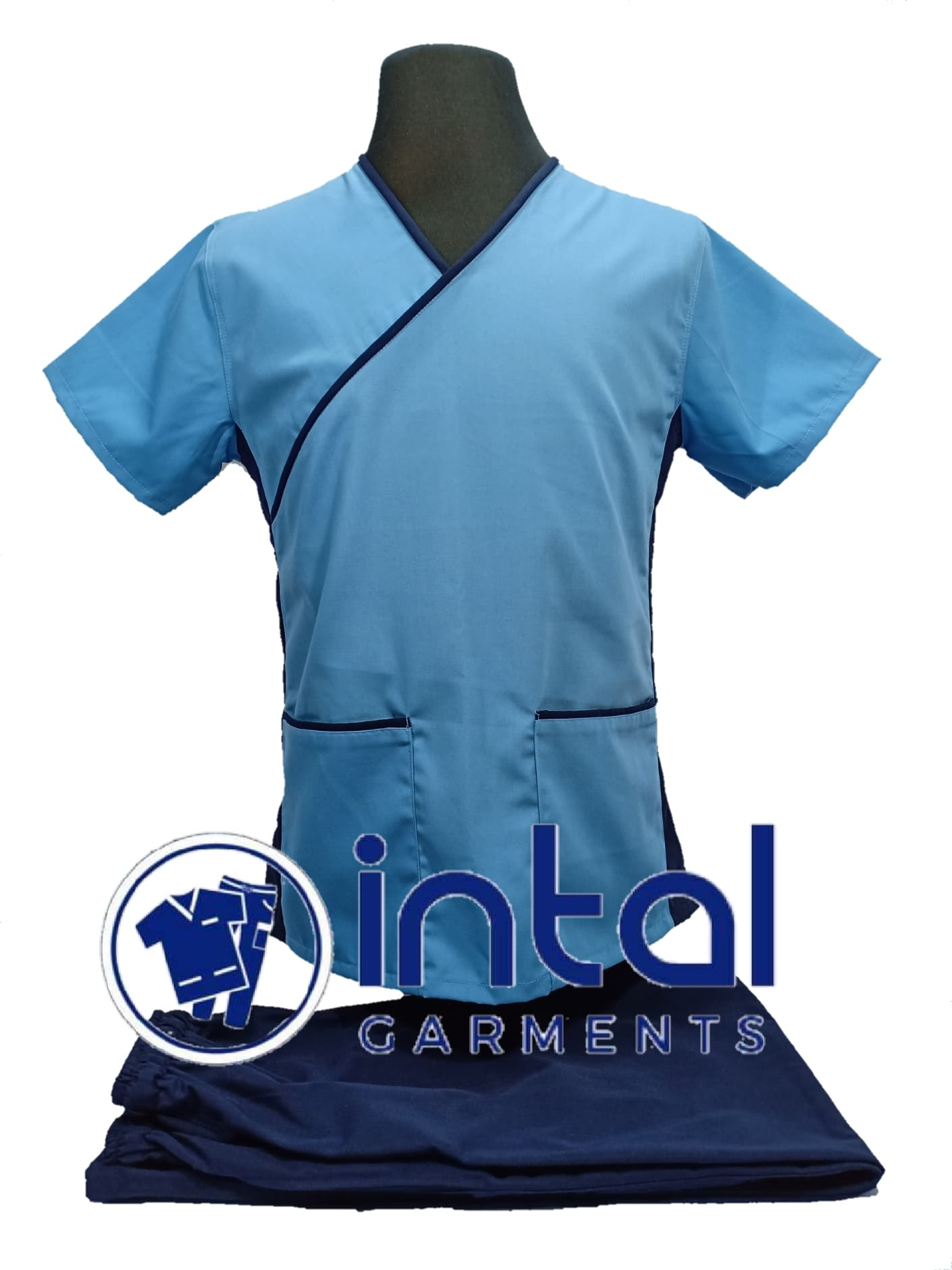 SCRUB SUITS UNIFORM Repellant TERNO 13 by INTAL GARMENTS ( Sky Blue – Navy  Blue )