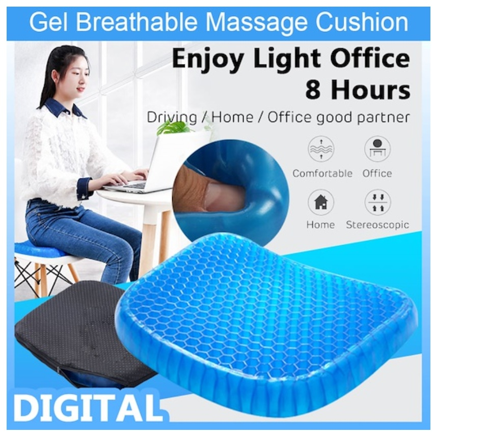 Gel Seat Cushion Comfort Blue Honeycomb Design Gel Pad Provides Excellent Support For Lower Back Spine Hips Promotes Venting Good Sitting Posture For Office Chair Car Sitter Wheelchair Lazada Ph